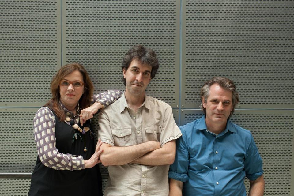 """The creative team behind the musical adaptation of """"The Bridges of Madison County"""" is (from left) playwright Marsha Norman, composer and lyricist Jason Robert Brown, and director Bartlett Sher.  (photo: Matthew Cavanaugh)"""
